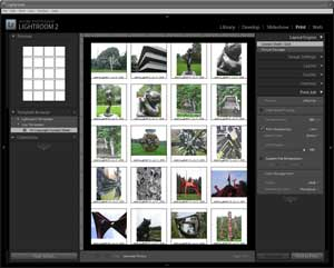 Screenshot of Adobe Lightroom digital contact sheet.
