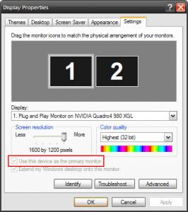 Microsoft Windows XP Display Properties