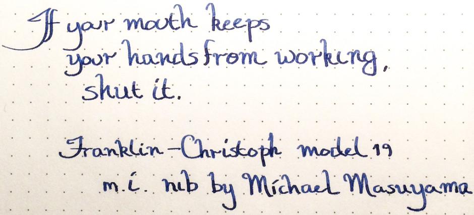 Writing sample from Franklin-Christoph Model 19 in Pilot Iroshizuku Shin-Kai on Kyokuto 5mm dot